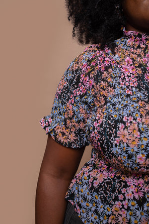Ditsy Floral Print Peplum Top