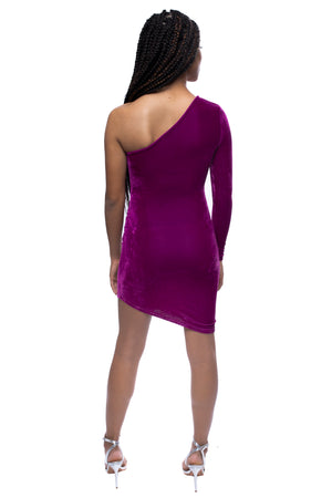 Velvet One Shoulder Aysmmetric Hem Bodycon Mini