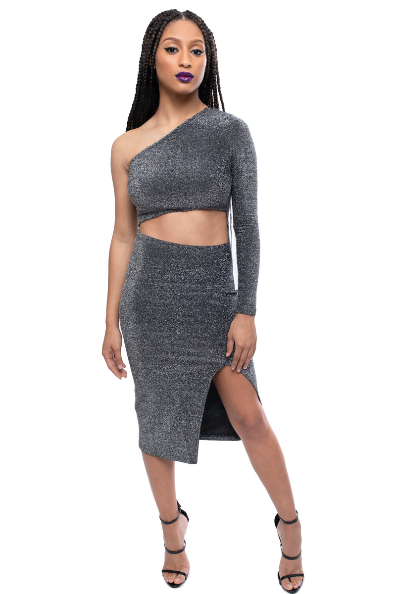 Metallic Cut Out Midi Dress