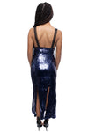 Minuet Fitted Midi Sequin Dress with slit