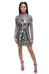 Geometric Sequin Long Sleeve High Neck Bodycon Mini