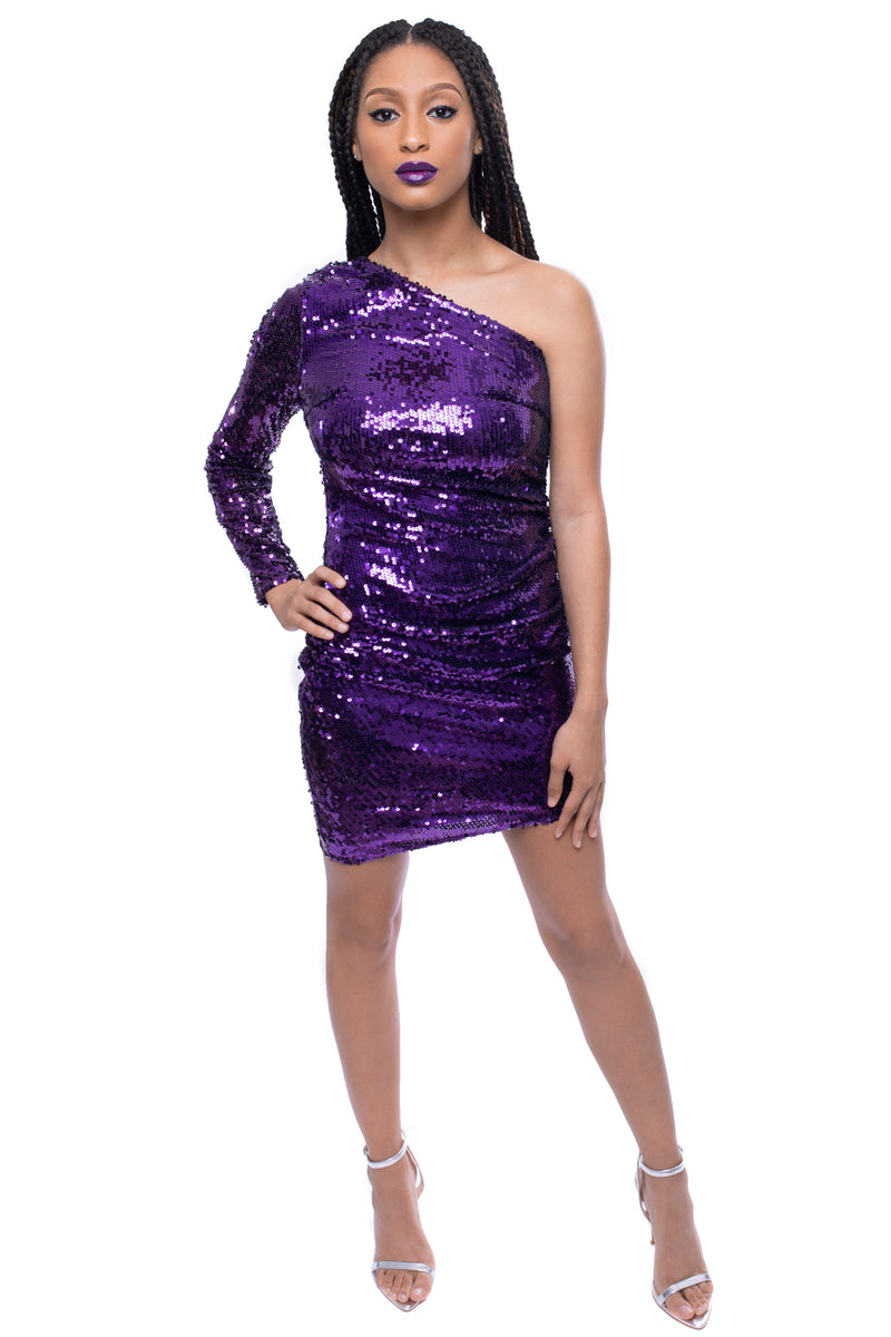 Sequin One Shoulder Asymmetrical Bodycon Mini Dress