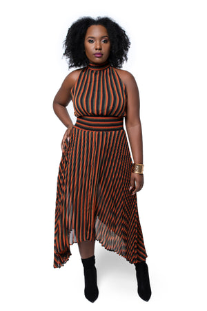 Royal Striped Midi Dress