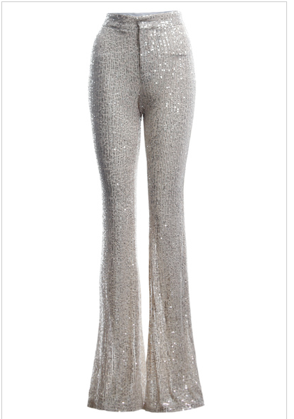 Sequin Top & Wide Leg Trouser Set
