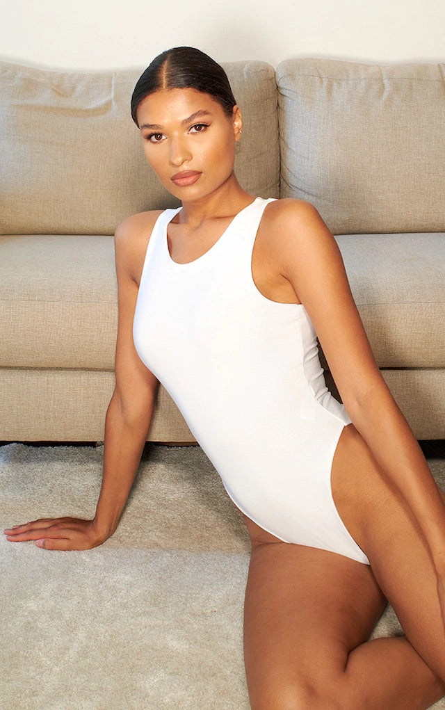 White Sleeveless Racer Bodysuit