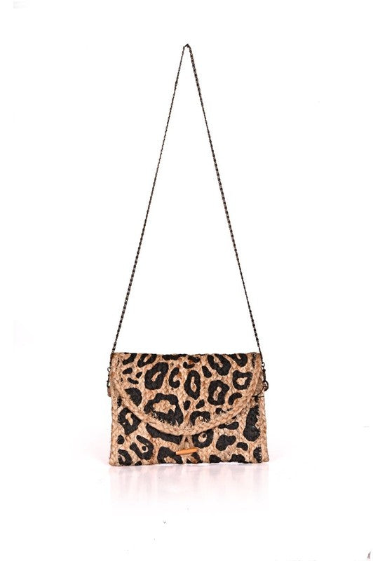 Leopard Print Handwoven Straw Tote