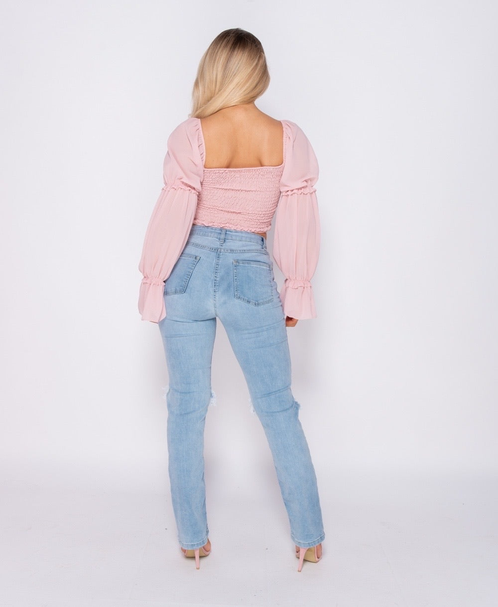 Shirring Detail Button Up Front Crop Top