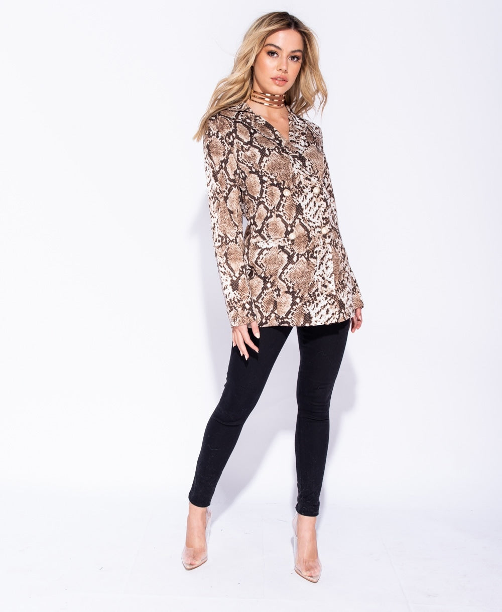 Snake Print Double Breasted Blazer