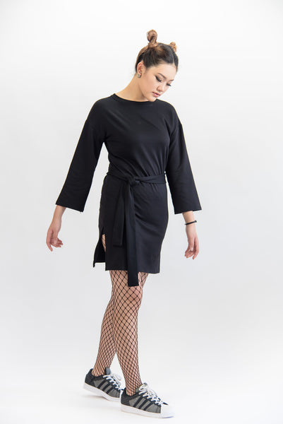 Long Sleeve Slim Fit Dress With Fabric Belt