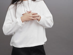 Korean Styled Zipper Crop Pullover