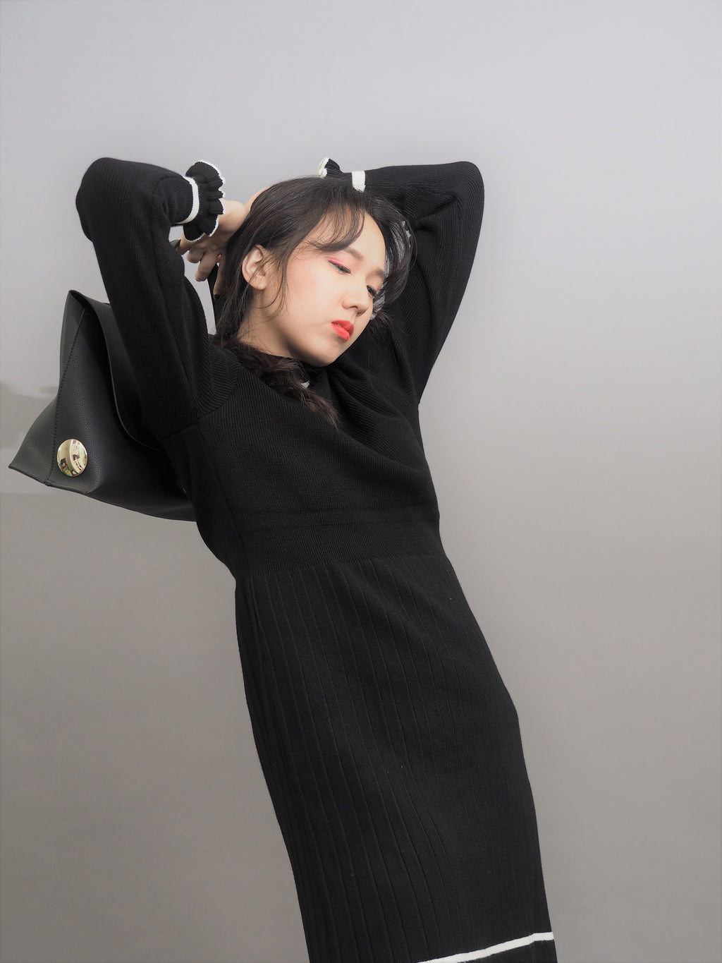 Semi High Collar Knitted Dress