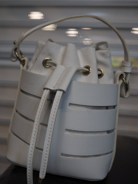 Mini Skeleton White Bucket Bag
