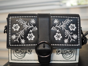 Flower Embroidery Hard Case Sling Bag