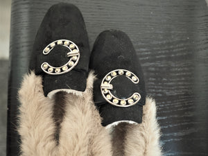 Fur Black Comfy Loafers