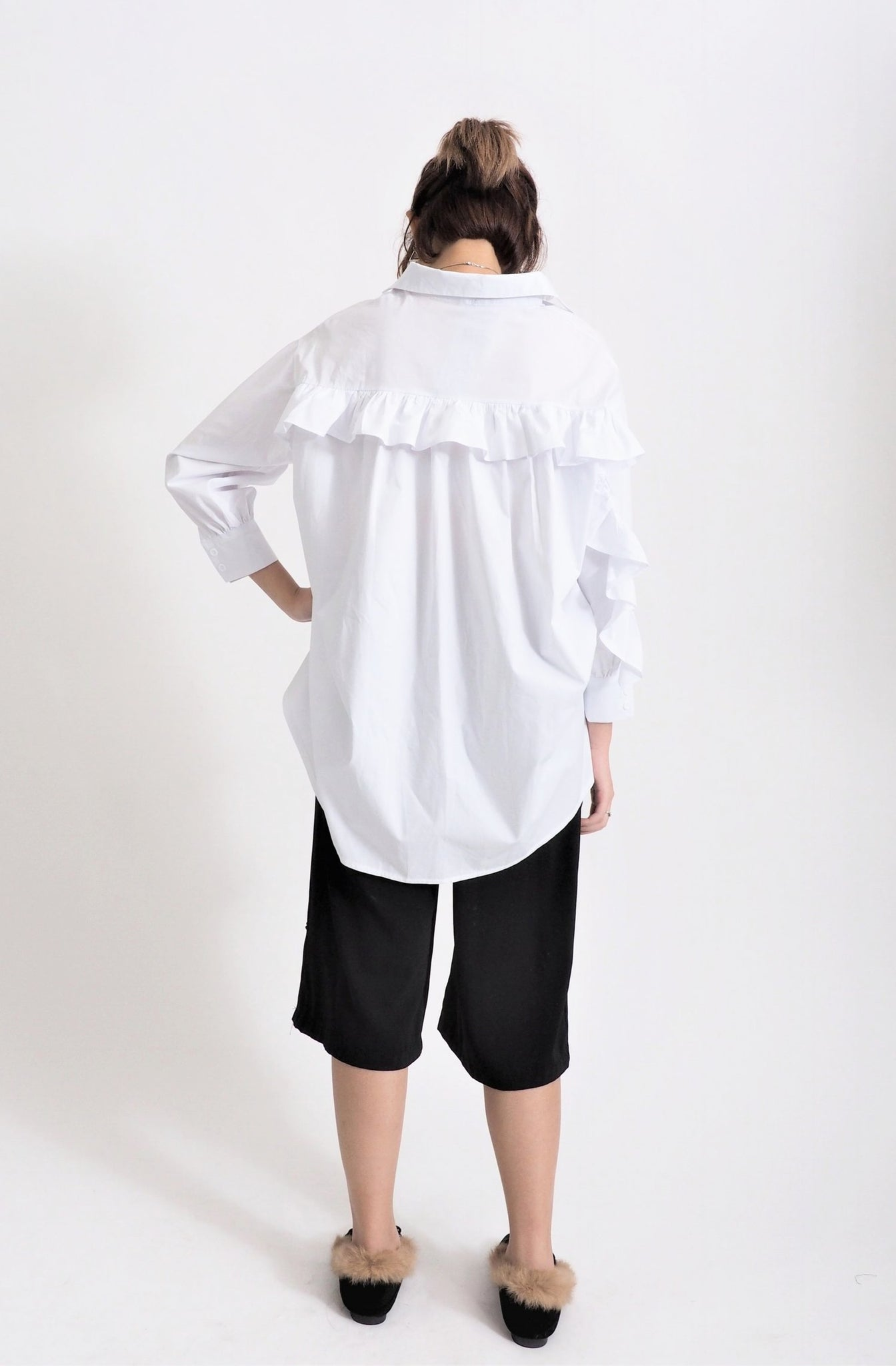 Double Pocket Ruffle Blouse