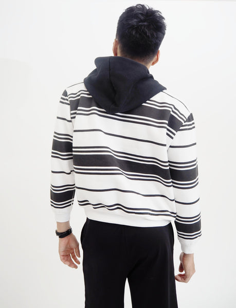 Black & White Drawstring Striped Hoodie