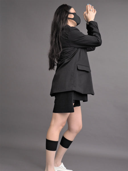 Retro Black Plus Size Suit Jacket