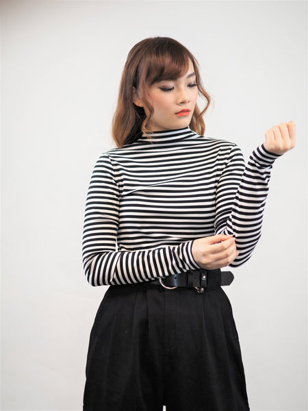 Mono High Neck Stripe Tee