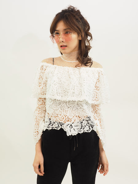 Off Shoulder Macrame Top