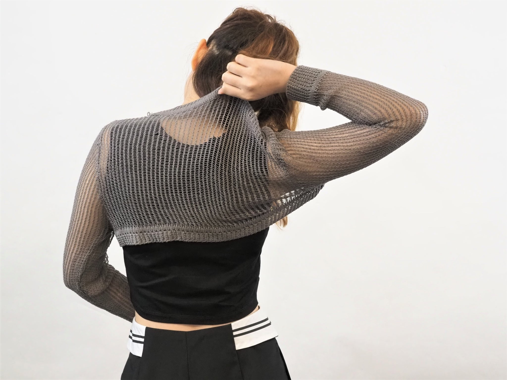 Knitted Sleeves Crop Vest