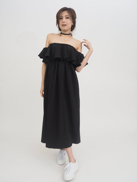 Off Shoulder Plain Dress