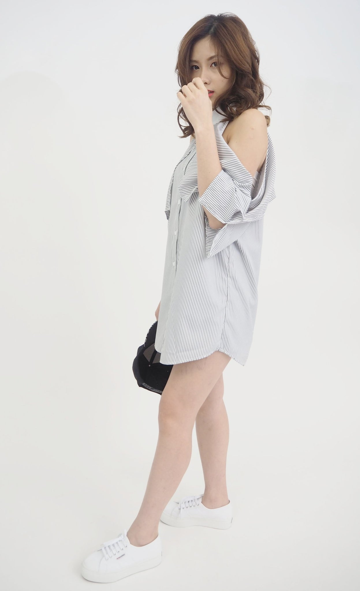Cut Out Mandarin Collar Dress