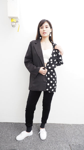 Mixed Striped/Dotted Blazer