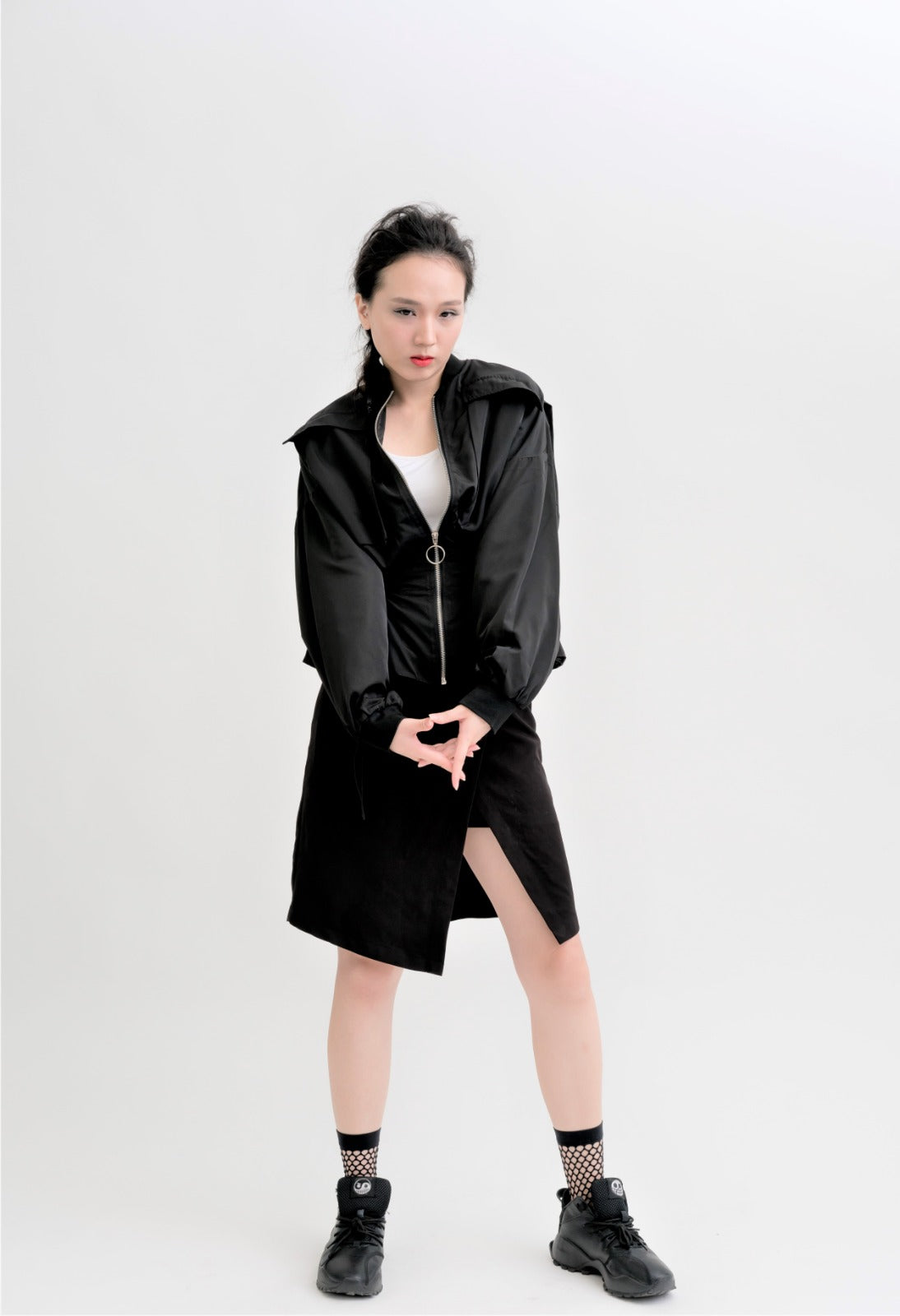 Cold Wind Waist Drawstring Loose Bomber Jacket