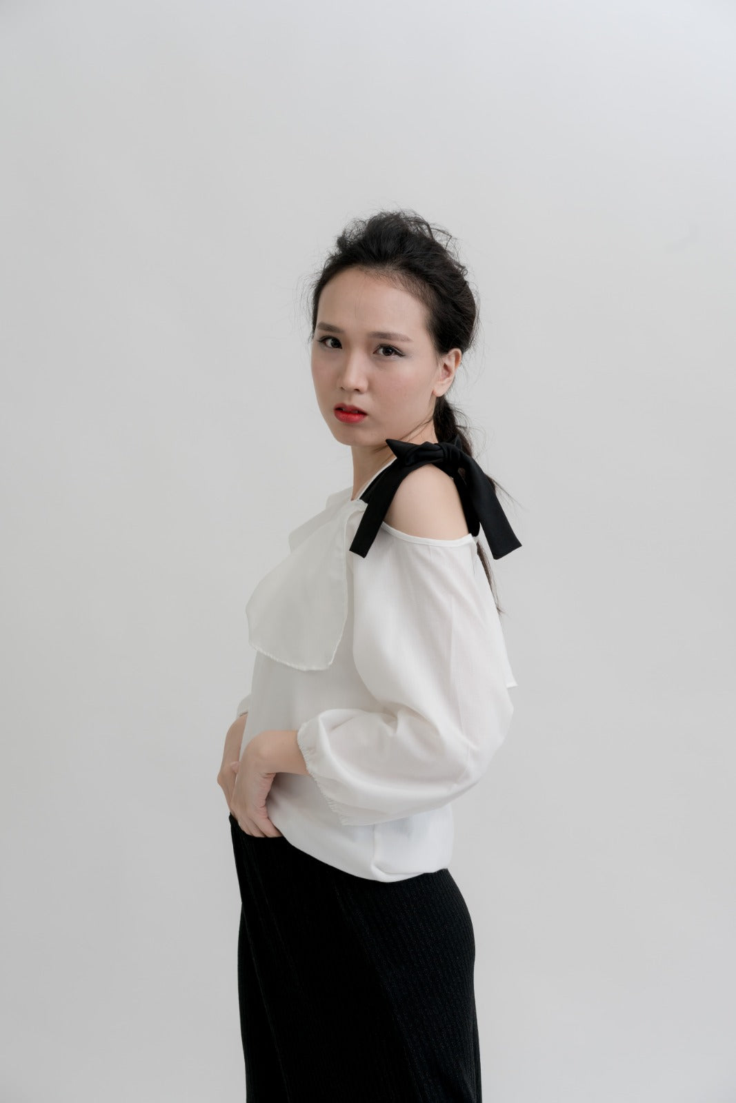 Asymmetric One-Shoulder Lace-Up Cuffled Blouse