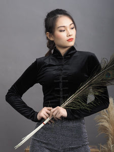 Velvet Chinese Long Sleeves Blouse