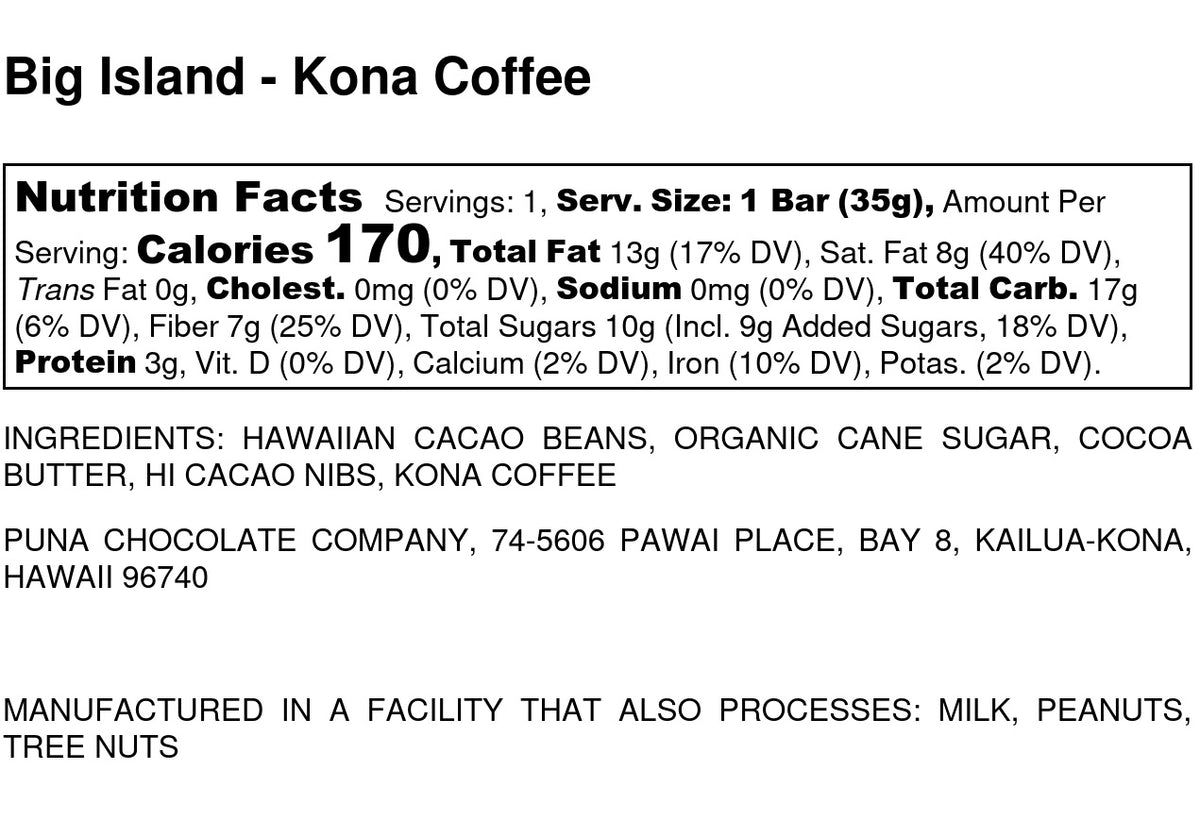 Kona Coffee and Puna Nibs - 70% Dark Chocolate