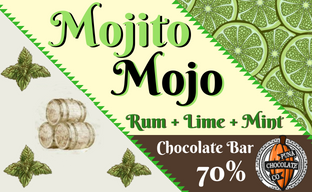 Mojito Mojo /Rum+Mint+Lime/ Dark Chocolate Bar
