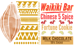 The Waikiki Bar - Chinese 5 Spice + Fortune Cookie in Milk Chocolate