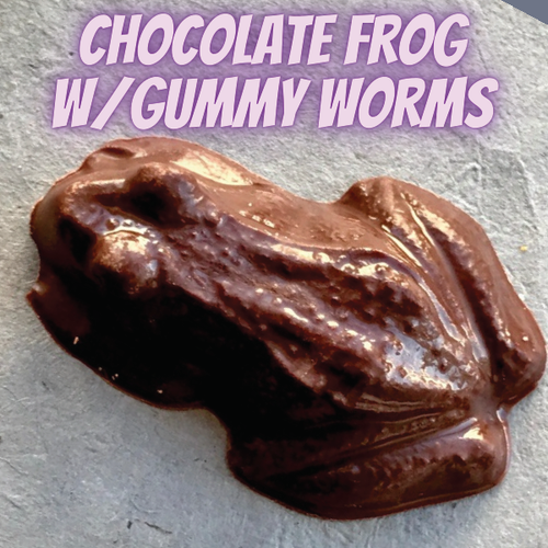 Chocolate Frog with Gummy Worms