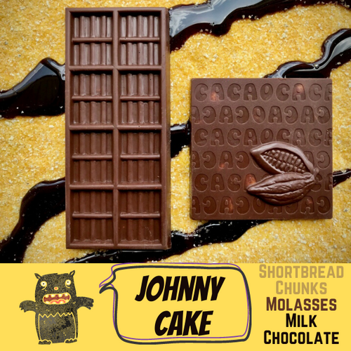 Johnny Cake - Molasses Corn Shortbread in Milk Chocolate
