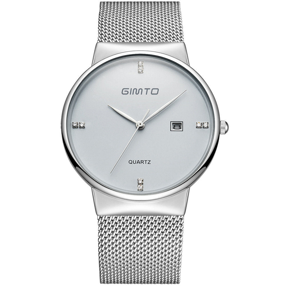 8537c1076 GIMTO Luxury Mens Watches Stainless Steel Mesh Strap Thin Dial Clock Fashion  Diamond Watches