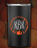 12oz Fall Pumpkin Monogram Tumbler with Straw