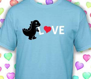 Dinosaur LOVE youth shirt Perfect for Valentine's Day