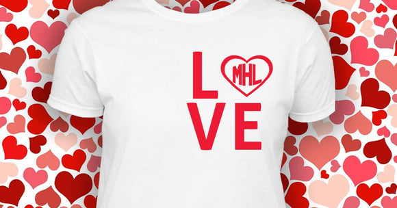 Monogram LOVE shirt Perfect for Valentine''s Day or Wedding