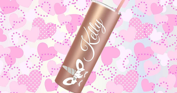 20oz Personalized Unicorn Rose Gold Stainless Steel Tumbler with matching straw