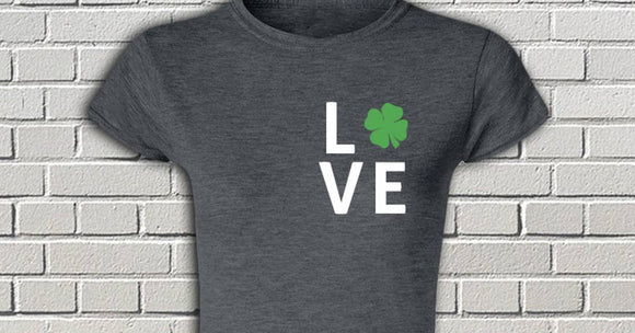 LOVE Four Leaf Clover St. Patrick's Day women's tshirt