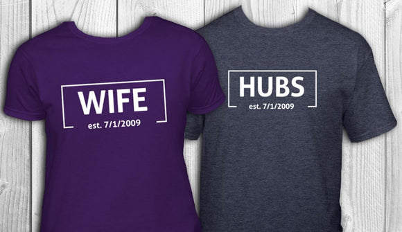 Hubs and Wife Established tshirt wedding honeymoon gift t-shirt set