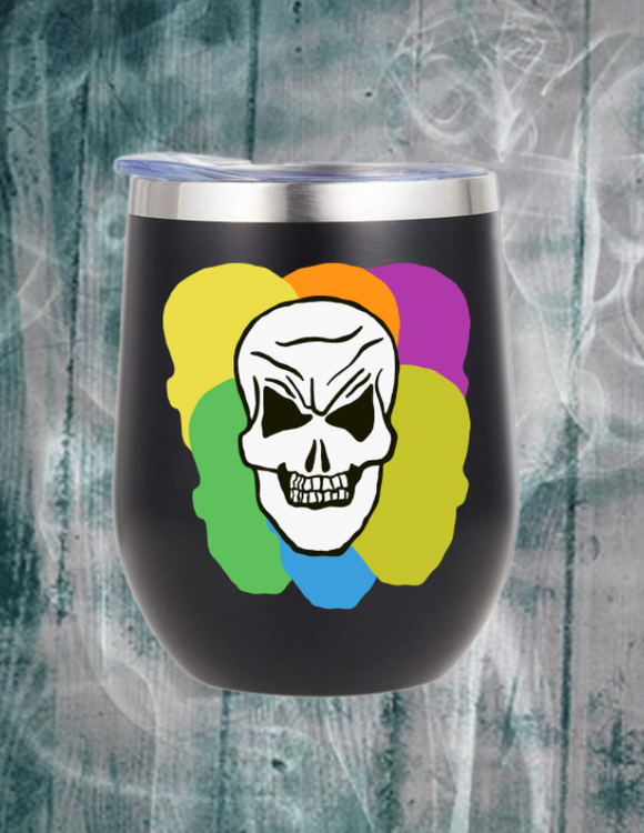 Colored Scary Skull Wine Tumbler with Straw