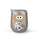 Owl Monogram Wine Tumbler with Straw (Customization Available)