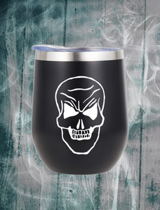 Skull Wine Tumbler with Straw