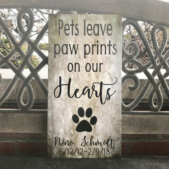 Furr Baby, Pet Decor, Pets Leave PAW PRINTS On Our Hearts, Personalize for FREE W/ Name and Dates