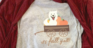 It's Fall Y'all! Pup Dog Long Sleeve Grey Women's Shirt