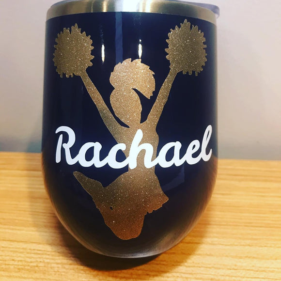Cheerleader Glitter Wine Tumbler with lid and straw