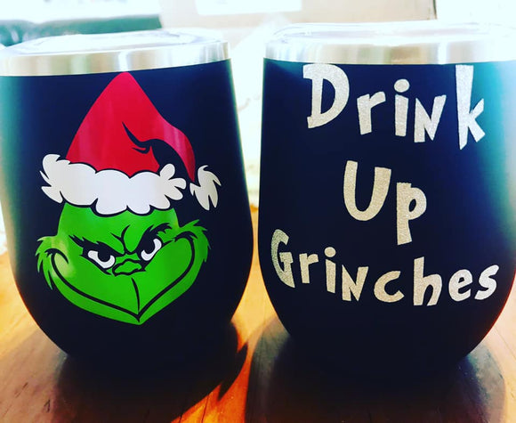 Drink Up Grinches Black 12oz Wine Tumbler with Straw