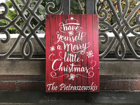 Have Yourself a Merry Little Christmas, CUSTOM CANVAS, Christmas Holiday Sign, PERSONALIZE W/ Family/Business Name, Awesome Gift